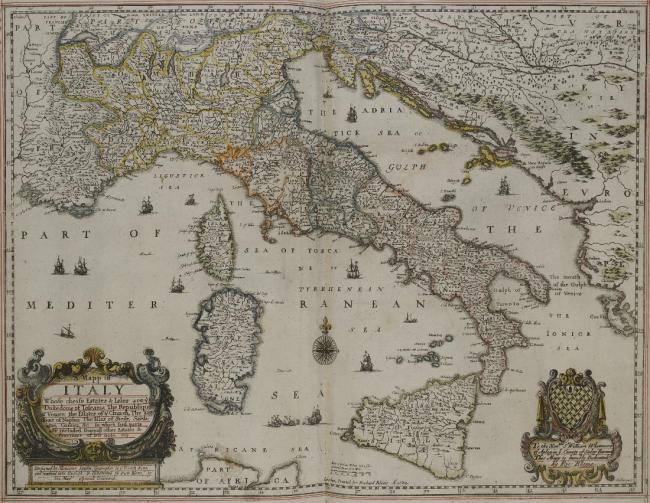 Map of Italy, 17th century.
