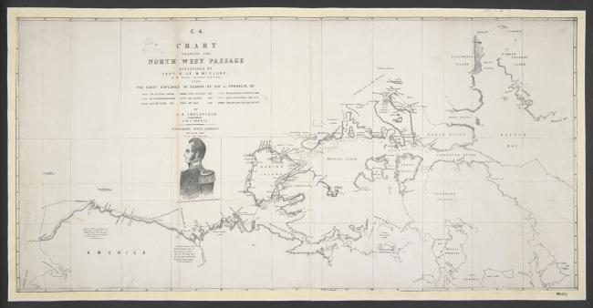 A chart showing the North-West Passage