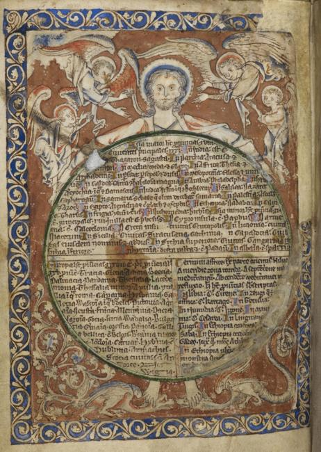 Roundel containing text. Angels. Figure with halo.