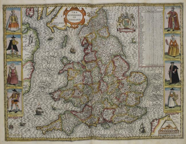 'The Kingdome of England' drawn in 1610.  Boundaries of counties or shires.