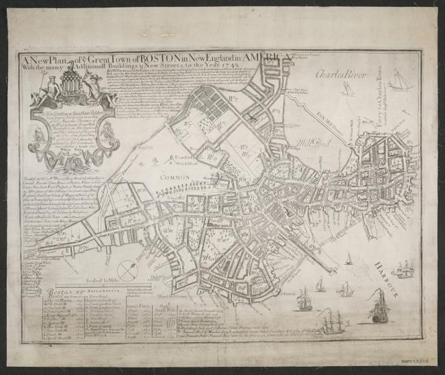 An 18th century map/plan of Boston, New England.,1 map ; 44x60cm.