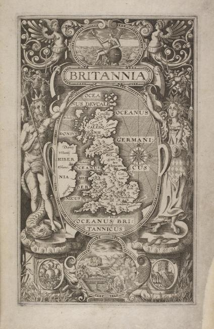 A map of Britain, and images of Britannia. A small view of Stonehenge.