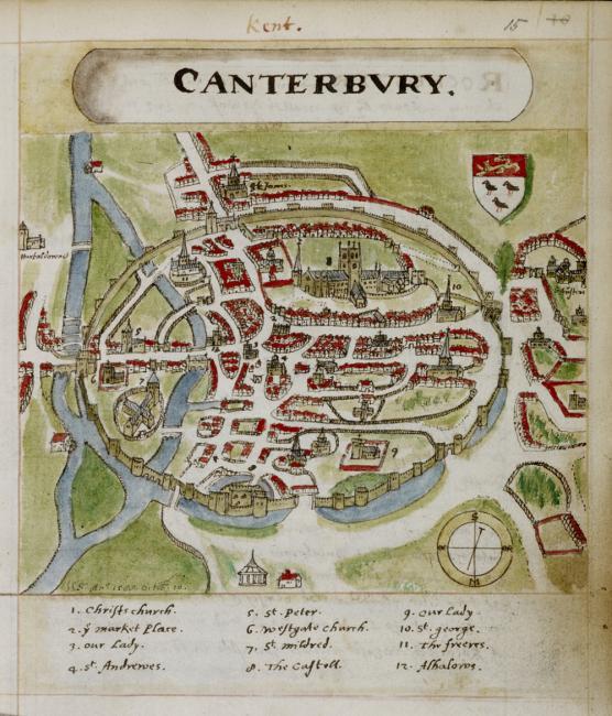 A coloured plan of Canterbury.